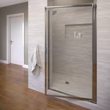 Wood Shower Door by Basco Deluxe 29 1 2 In X 67 In Framed Pivot Shower Door In