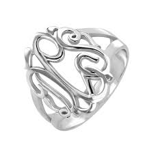 Sterling Silver Monogram Rings Classic Monogram Ring 18mm Personalized Jewelry