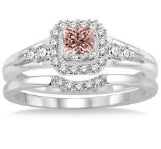 morganite bridal set 1 5 carat morganite diamond bridal set halo engagement ring