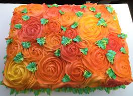 thanksgiving treat ideas fall colors buttercream rose swirl sheet cake jac u0027s cakes