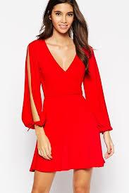 slit long sleeves plunge v neck casual dress long sleeve dresses