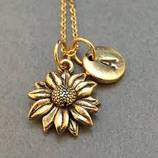 flower necklace images Sunflower necklace sunflower charm flower necklace jpg