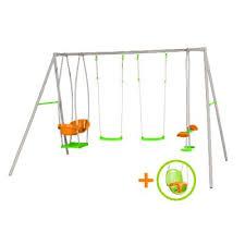 siege b b balancoire portique balançoire métal pour 6 enfants avec 4 agrès et 1 siège