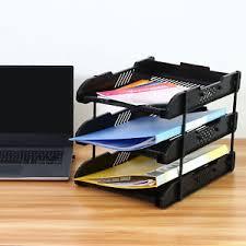 Desk Letter Organizer Office 3 Tier File Document Organizer Rack Desk Letter Tray Holder