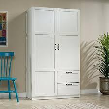 large white storage cabinet amazon com sauder large storage cabinet soft white finish kitchen