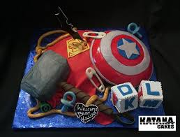 marvel baby shower themed baby shower cake with elements from both dc and