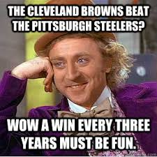 Funny Pittsburgh Steelers Memes - the cleveland browns beat the pittsburgh steelers wow a win every