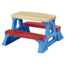 kids plastic picnic table set bench chair play in out door toddler