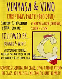 vinyasa u0026 vino christmas party tidy temple yoga