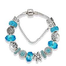 beads charm bracelet images Majesto snow blue beaded charm bracelet 7 5 inch for jpg