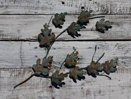 free shipping copper oak branch copper wall art metal wall art
