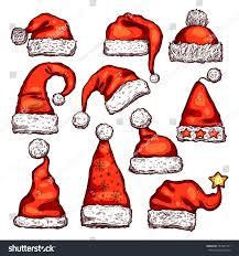 christmas red hat santa claus sketch stock vector 524991721