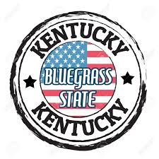 Kentucky Flags Grunge Rubber Stamp With Flag And The Text Kentucky Bluegrass