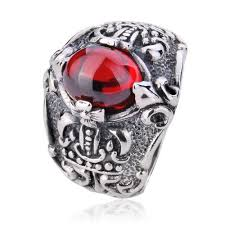 ring of men 925 sterling silver chrome hearts king s sword gemstone ring gift