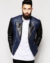 black leather biker jacket asos leather biker jacket with contrast sleeve in black for men lyst