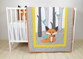 fox blanket yellow gray nursery baby boy quilt woodland crib