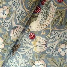 William Morris Wallpaper by William Morris Strawberry Thief Fabric Blue 150cm Wide William