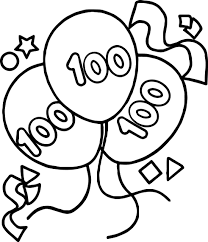 100 days balloon coloring page wecoloringpage