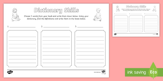 dictionary skills worksheet dictionary dictionary skills