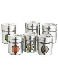 set of six stainless steel spice jars