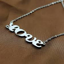3d Nameplate Necklace Capital Name Plate Necklace Sterling Silver