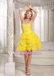 dresses for graduation 8th grade yellow ruffled sweetheart mini length graduation dresses for 8th grade