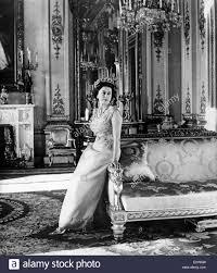 portrait of queen elizabeth ii in the drawing room stock photo