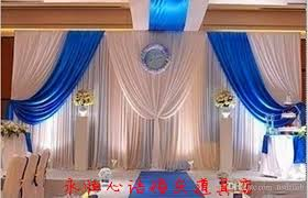 Blue Swag Curtains 10ft By 20ft White Wedding Backdrop With Royal Blue Swag Stage