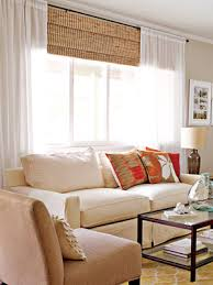 Hanging Curtains High And Wide Designs Make Your Picture Windows Look Huge By Hanging Bamboo Blinds And