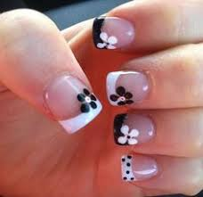 french nail design with dotted flowers beautiful nails