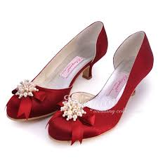 burgundy wedding shoes shoes ep100114 burgundy toe pearls rhinestone bow low
