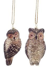 pack of 12 copper and taupe brown mercury glass owl