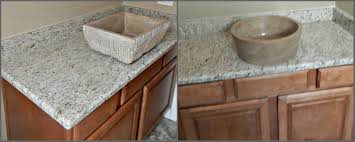 st cecelia granite countertop remodel with vessel sinks and