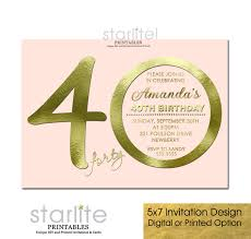 pink gold 40th birthday invitation modern number amanda