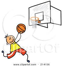 of stick figure boy playing basketball