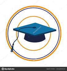blue graduation cap color silhouette with blue graduation cap in circular frame