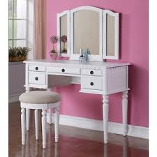 Folding Vanity Table Tri Folding Mirror Vanity Set Makeup Table Dresser W Bench 5