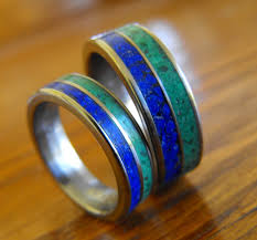 Wedding Rings His And Hers by Titanium Rings Wedding Rings Malachite Rings Lapis Lazuli Rings