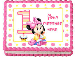 baby minnie mouse 1st birthday these images are printed with edible ink on edible frosting sheets
