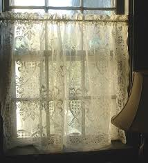 French Lace Kitchen Curtains Vintage Cream Cotton Lace Cafe Curtain By Mermaidsboudoir On Etsy