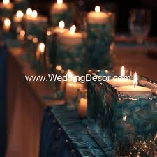 candle runners wedding decor table ivory linens light blue runners and