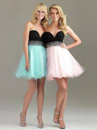 8th grade social dresses two tone strapless sweetheart neckline sequined band flowing a line