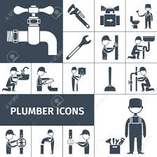 plumber decorative icons black set with bath shower and water