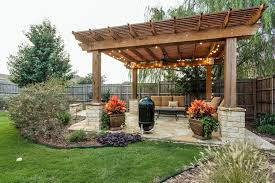 pergola with trellis craftsman patio with fence u0026 exterior stone floors in irving tx