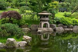 various of garden ornaments and accessories with japanese