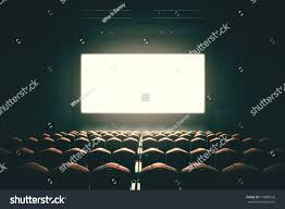 front view cinema blank screen toned stock illustration 613804526