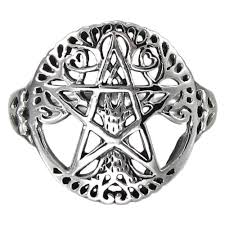 925 silver cut out tree of wiccan pentagram ring silvermania925