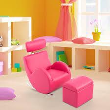 fauteuil canapé enfant homcom fauteuil canapé sofa enfant à bascule 3 12 ans avec tabouret
