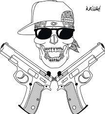 gangsta coloring pages my gangsta skull art attack pinterest
