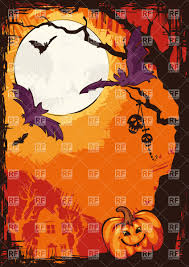 halloween poster with pumpkin bats and tree silhouette against